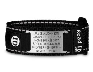 The original Road ID bracelet – it's super-tough, secure, incredibly hard-wearing and near indestructible. Sadly Mrs. SLJ lost mine for me.